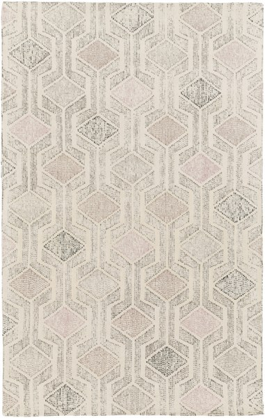 Melody Modern Ivory Gray Mauve Wool Area Rug (L 90 X W 60) MDY2000-576