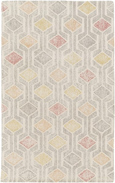 Melody Modern Ivory Gray Olive Wool Area Rug (L 90 X W 60) MDY2001-576