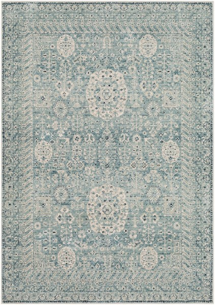 Surya Mesopotamia Medium Gray Ivory Teal Area Rug 88 x 61 MEP2302-5174