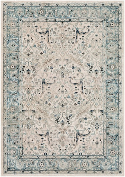 Surya Mesopotamia Medium Gray Teal Ivory Polypropylene Area Rug 88 x 61 MEP2304-5174