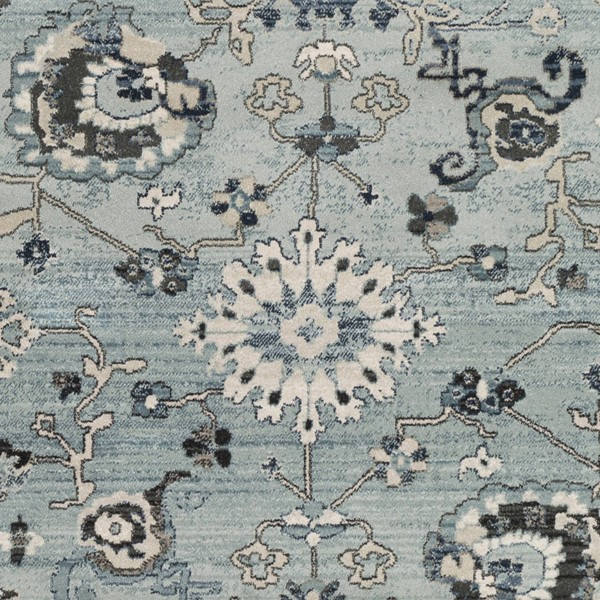 Surya Mesopotamia Medium Gray Teal Denim Polypropylene Sample Area Rug 18 x 18 MEP2309-1616