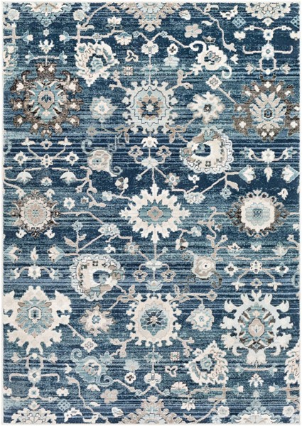 Surya Mesopotamia Medium Gray Navy Teal Polypropylene Area Rug 147 x 108 MEP2310-9123