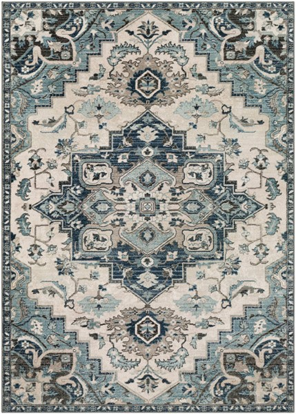 Surya Mesopotamia Medium Gray Teal Navy Polypropylene Area Rug 118 x 94 MEP2312-710910