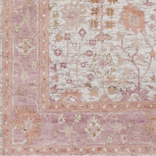 Surya Maeva Peach Bright Pink Ivory Wool Viscose Sample Area Rug 18 x 18 MEV2004-1616