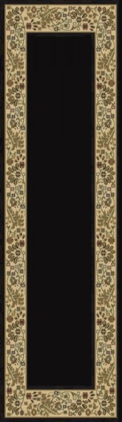 Midtown Contemporary Black Beige Ivory Olefin Area Rug (L 90 X W 26) MID1062-2276