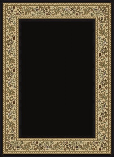 Midtown Contemporary Black Beige Ivory Olefin Area Rug (L 87 X W 63) MID1062-5373
