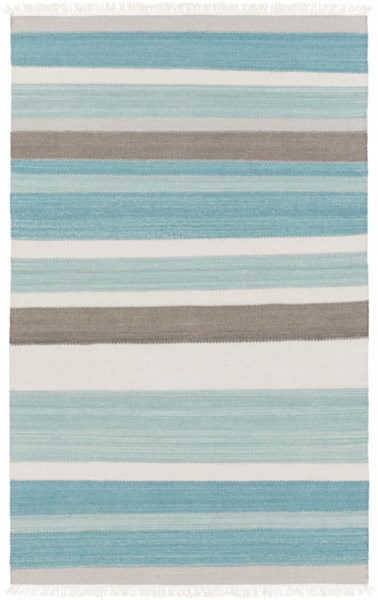 Miguel Modern Teal Charcoal Gray Wool Cotton Area Rug (L 90 X W 60) MIG5000-576