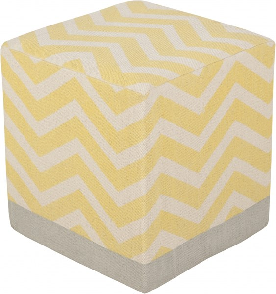 Millie Contemporary Gold Beige Gray Cotton Pouf (L 16 X W 16 X H 18) MIPF-001