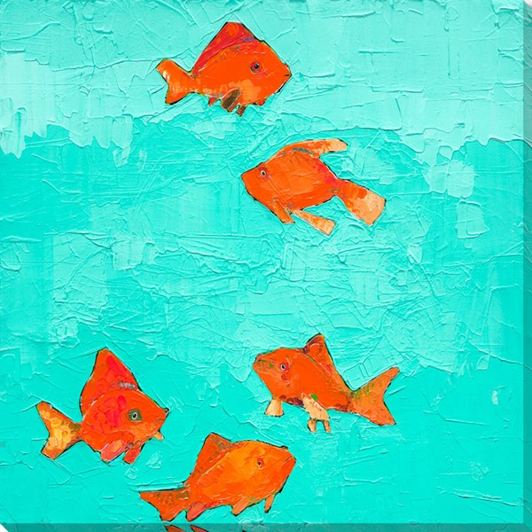 Surya Eternal Canvas Swimming Goldfish Wall Art - 18x18 MK122A001-1818