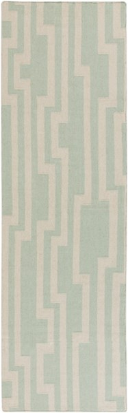 Market Place Contemporary Mint Ivory Wool Runner (L 96 X W 30) MKP1010-268