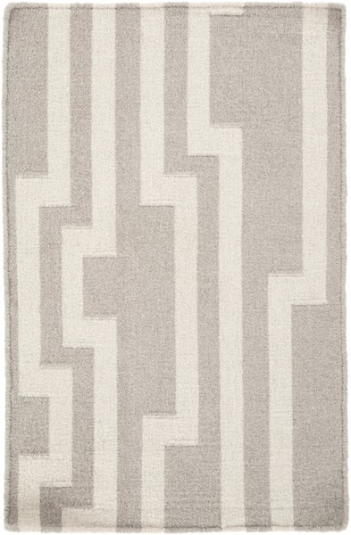 Market Place Contemporary Light Gray Ivory Wool Area Rug (L 36 X W 24) MKP1012-23