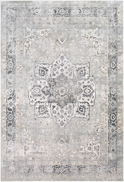Surya Milano Medium Gray Tan Charcoal Viscose Area Rug 87 x 63 MLN2305-5373