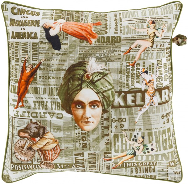 Mind Games Olive Sea Moss Down Cotton Throw Pillow (L 22 X W 22) MNG002-2222D