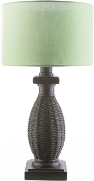 Amani Contemporary Black Green Resin Polyester Drum Shape Table Lamp MNI880-TBL