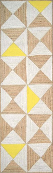 Molino Contemporary Ivory Lime Beige Jute Cotton Runner (L 96 X W 30) MOL5000-268
