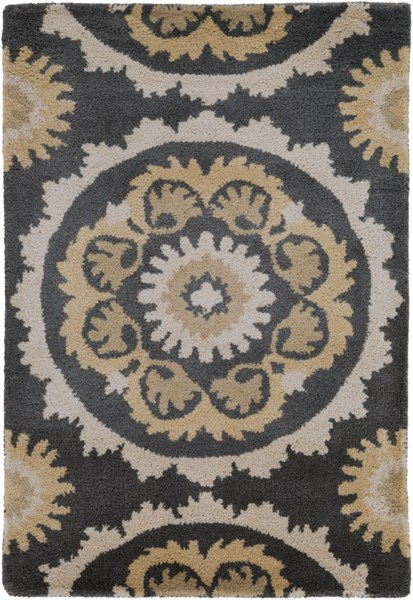 Mosaic Contemporary Black Beige Olive Wool Rugs 479-VAR1