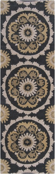 Mosaic Contemporary Black Beige Olive Wool Runner (L 96 X W 30) MOS1063-268