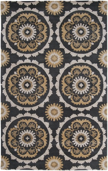 Mosaic Contemporary Black Beige Olive Wool Area Rug (L 96 X W 60) MOS1063-58