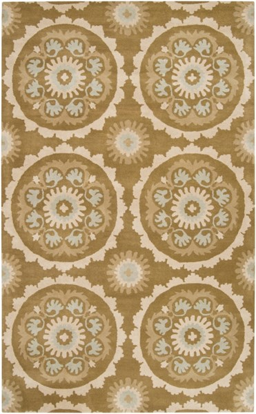 Mosaic Contemporary Light Gray Beige Wool Area Rug (L 96 X W 60) MOS1069-58