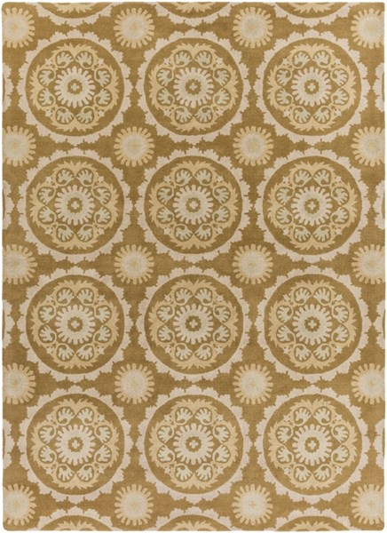 Mosaic Contemporary Light Gray Beige Wool Area Rug (L 132 X W 96) MOS1069-811