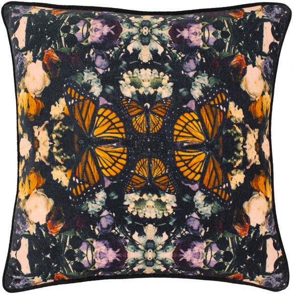 Surya Metamorphosis Black Saffron Pillow Cover - 22x22 MPH001-2222