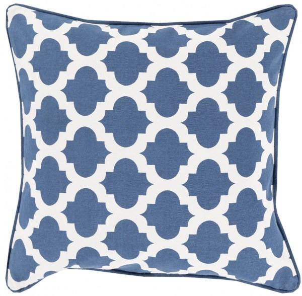 Moroccan Printed Lattice Navy Poly Cotton Throw Pillow (L 20 X W 20) MPL001-2020P