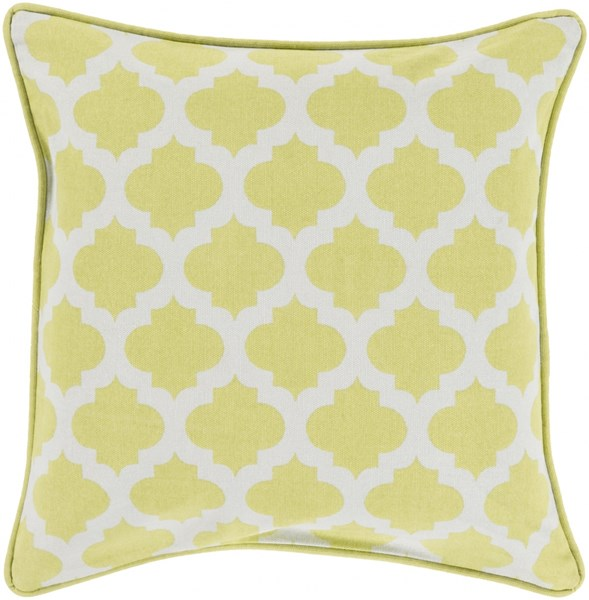 Moroccan Printed Lattice Lime Poly Cotton Throw Pillow (L 22 X W 22) MPL002-2222P