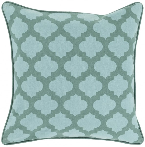 Moroccan Printed Lattice Teal Poly Cotton Throw Pillow (L 18 X W 18) MPL003-1818P