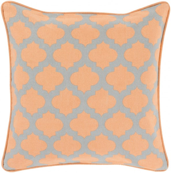 Moroccan Printed Lattice Coral Down Cotton Throw Pillow (L 18 X W 18) MPL004-1818D