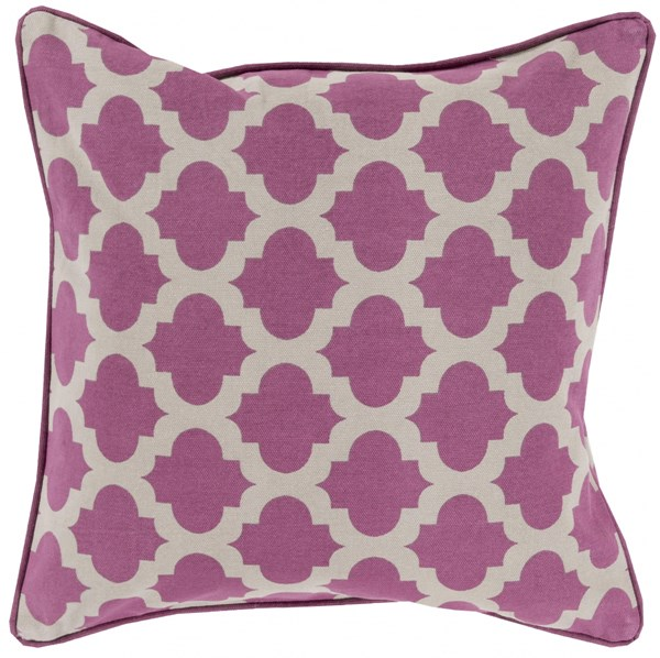 Moroccan Printed Lattice Gray Down Cotton Throw Pillow (L 22 X W 22) MPL005-2222D