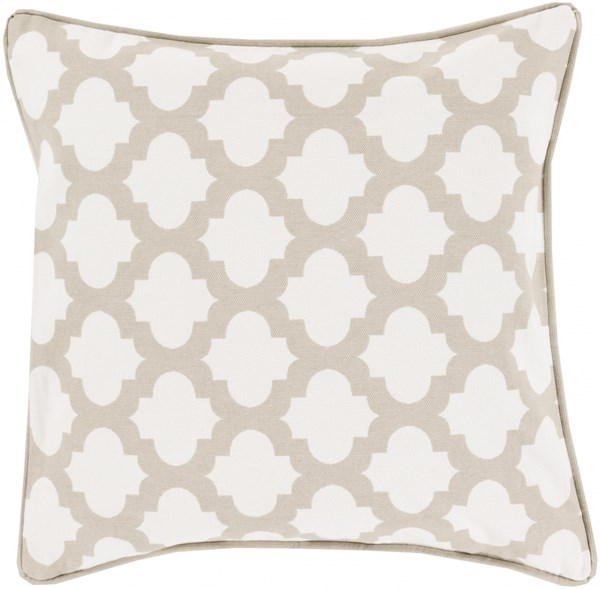 Moroccan Printed Lattice Ivory Down Cotton Throw Pillow (L 22 X W 22) MPL007-2222D