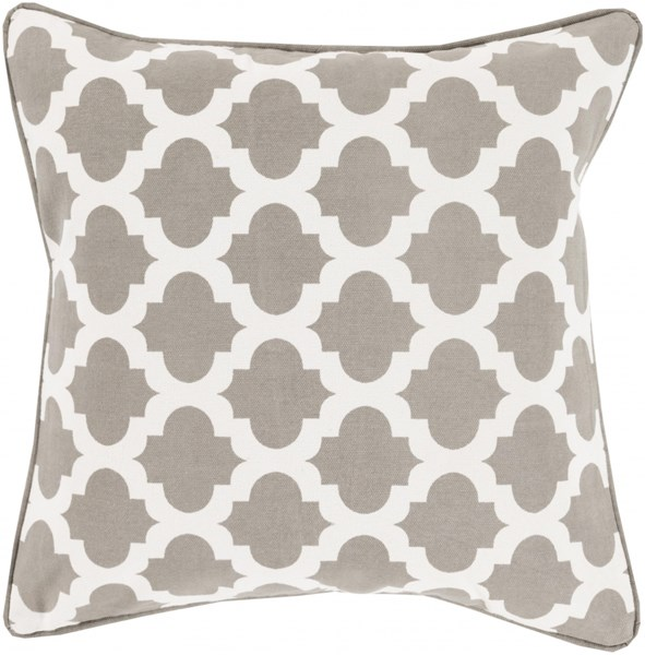 Moroccan Printed Lattice Gray Down Cotton Throw Pillow (L 20 X W 20) MPL008-2020D
