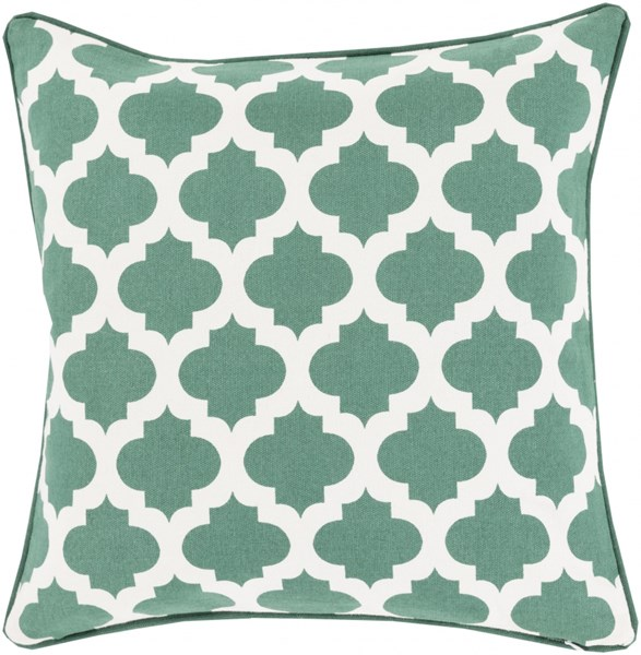 Moroccan Printed Lattice Green Poly Cotton Throw Pillow (L 22 X W 22) MPL010-2222P