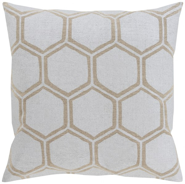 Metallic Stamped Beige Down Fabric Throw Pillow (L 22 X W 22) MS003-2222D