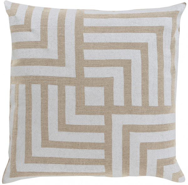 Metallic Stamped Light Gray Down Fabric Throw Pillow (L 22 X W 22) MS004-2222D