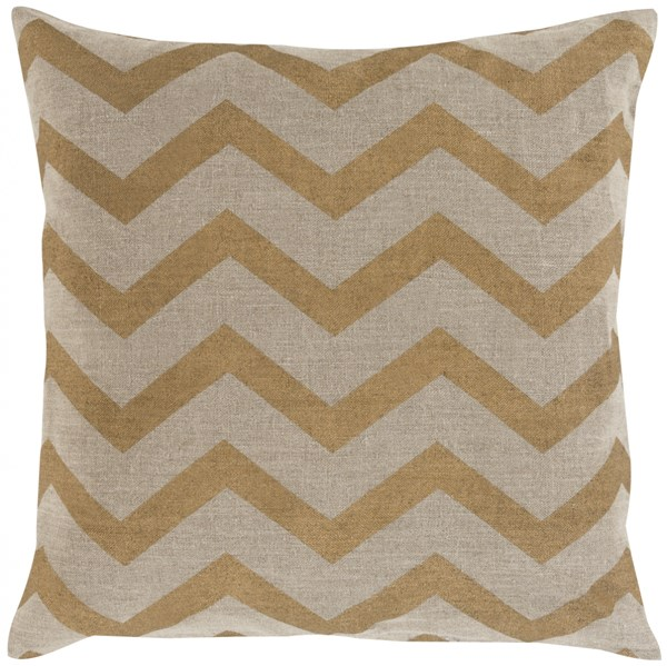 Metallic Stamped Beige Gold Poly Fabric Throw Pillow (L 22 X W 22) MS005-2222P