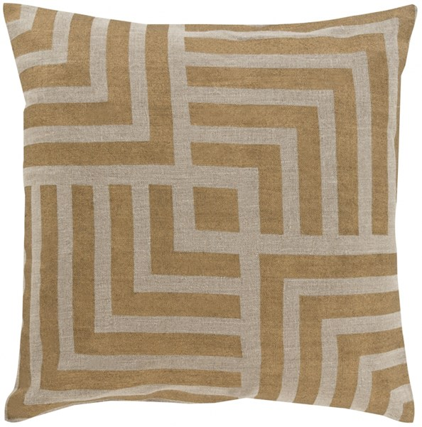 Metallic Stamped Gold Beige Down Fabric Throw Pillow (L 18 X W 18) MS006-1818D