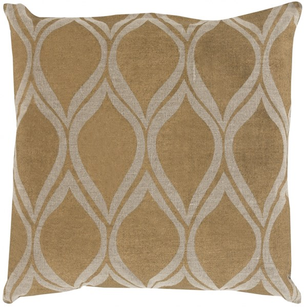 Metallic Stamped Gold Poly Fabric Throw Pillow (L 22 X W 22 X H 5) MS008-2222P