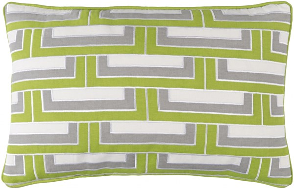 Mod Steps Lime Gray Ivory Fabric Poly Cotton Throw Pillow MSP002-1818P