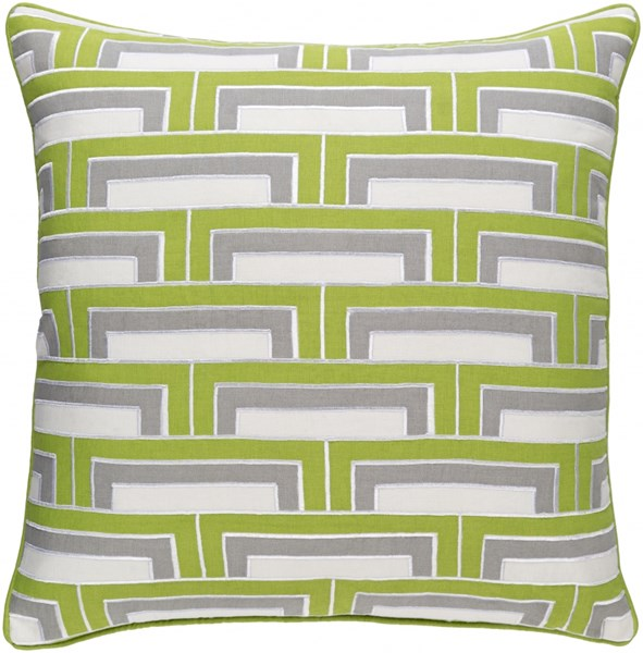 Mod Steps Lime Gray Fabric Poly Cotton Throw Pillow (L 20 X W 20) MSP002-2020P