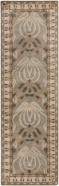 Mentone Contemporary Gray Beige Taupe Wool Runner (L 96 X W 30) MTO7000-268