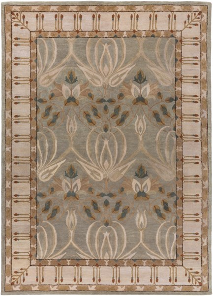 Mentone Contemporary Gray Beige Taupe Wool Area Rug  (L 132 X W 96) MTO7000-811