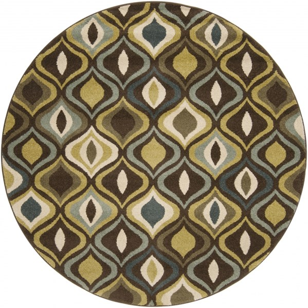 Monterey Contemporary Charcoal Olive Moss Polypropylene Round Area Rug MTR1001-67RD