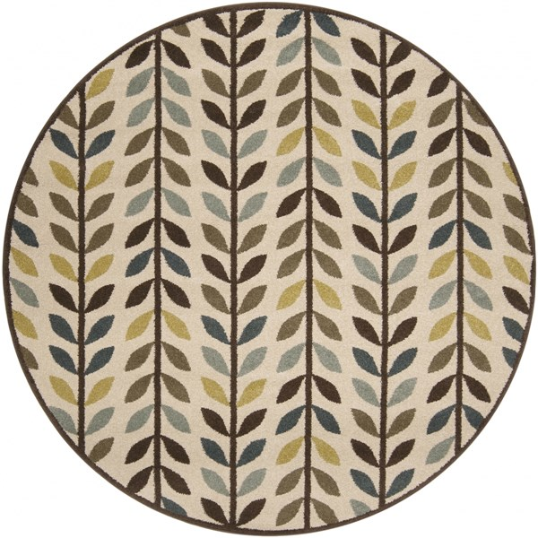 Monterey Olive Chocolate Lime Polypropylene Round Area Rug MTR1015-67RD