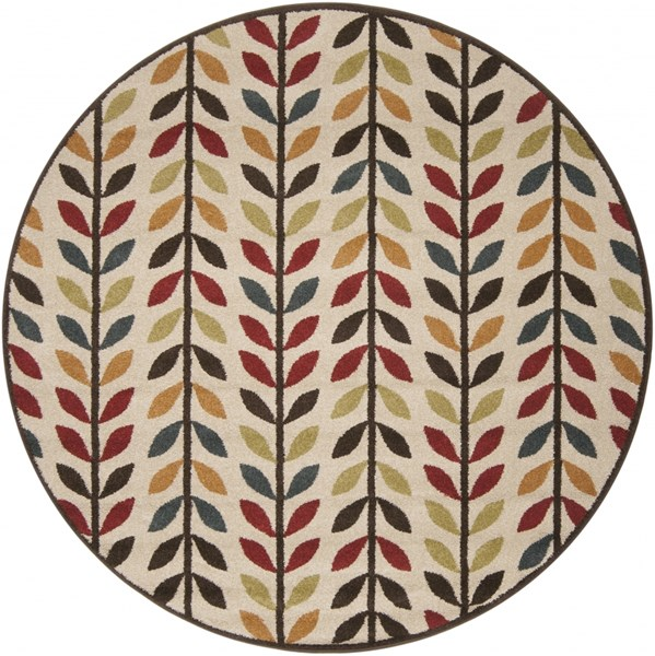 Monterey Olive Charcoal Burgundy Polypropylene Round Area Rug MTR1016-67RD