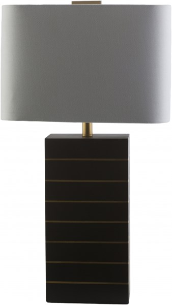 Maxwell Black with Gold line Wood Linen Table Lamp - 14x25 MXL628-TBL