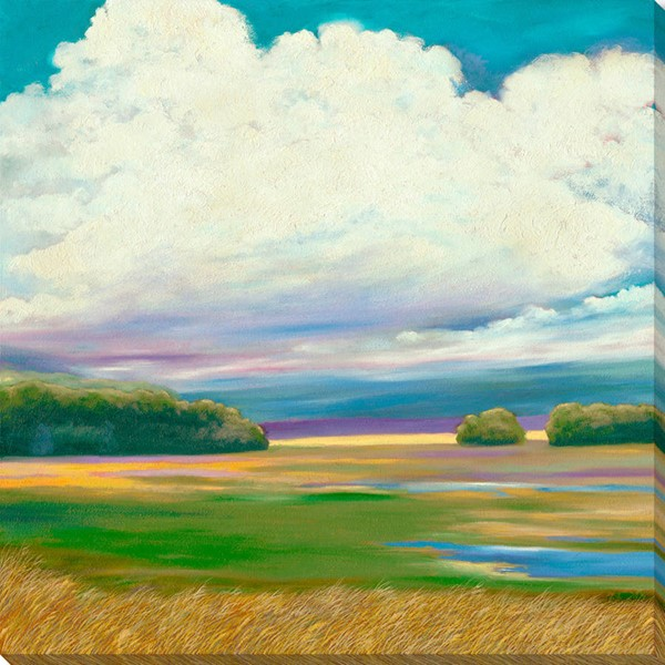 Surya Eternal Canvas Grass Field On a Cloudy Day Wall Art - 48x48 MY111A001-4848