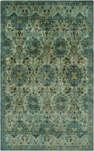 Mykonos Forest Teal Olive Chocolate Taupe Wool Area Rug (L 96 X W 60) MYK5000-58