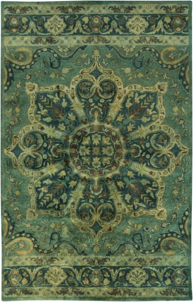 Mykonos Forest Lime Teal Olive Chocolate Taupe Wool Area Rug - 60 x 96 MYK5008-58