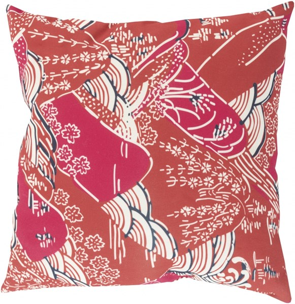 Mizu Burgundy Pink Charcoal Polyester Throw Pillow (L 18 X W 18) MZ006-1818